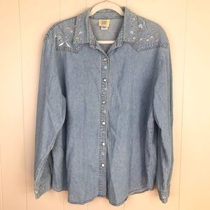 VTG Denim Embroidered Western Pearl Snap Shirt XL